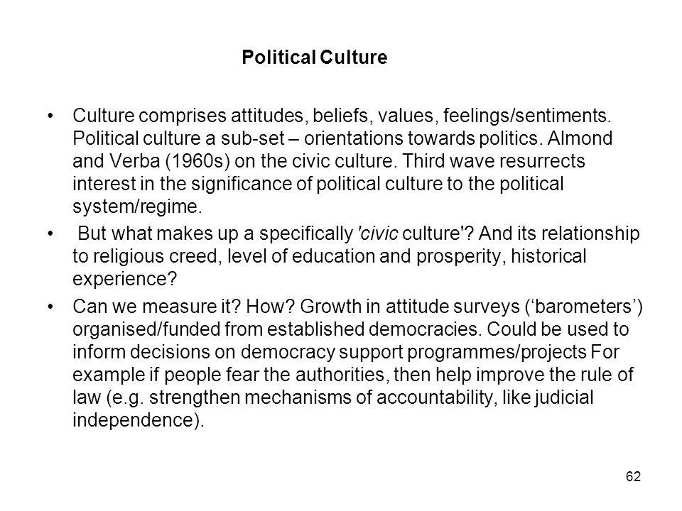 Political Culture Culture comprises attitudes, beliefs, values, feelings/sentiments.