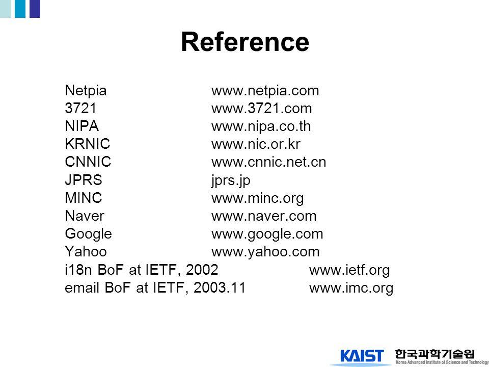 Reference Netpiawww.netpia.com 3721www.3721.com NIPAwww.nipa.co.th KRNICwww.nic.or.kr CNNICwww.cnnic.net.cn JPRSjprs.jp MINCwww.minc.org Naverwww.naver.com Googlewww.google.com Yahoowww.yahoo.com i18n BoF at IETF, 2002www.ietf.org email BoF at IETF, 2003.11www.imc.org