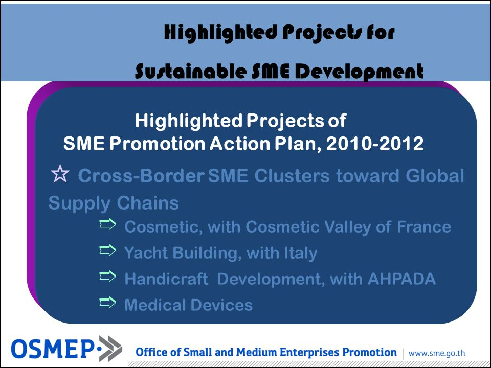 Highlighted Projects of SME Promotion Action Plan, 2010-2012 Highlighted Projects for Sustainable SME Development Cross-Border SME Clusters toward Glo