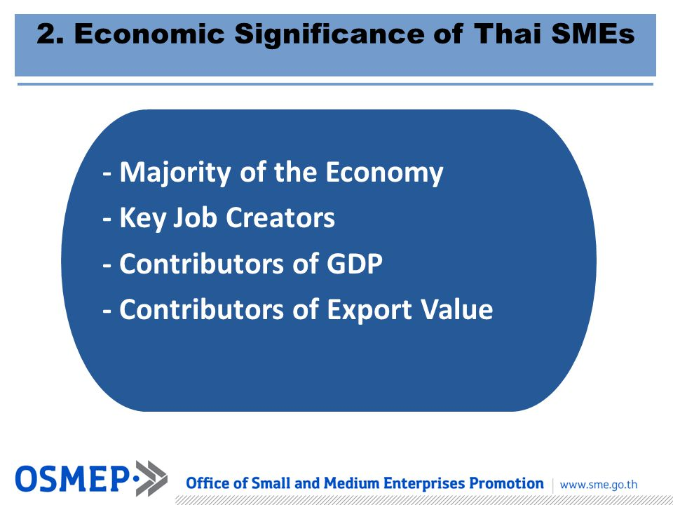 - Majority of the Economy - Key Job Creators - Contributors of GDP - Contributors of Export Value 2. Economic Significance of Thai SMEs