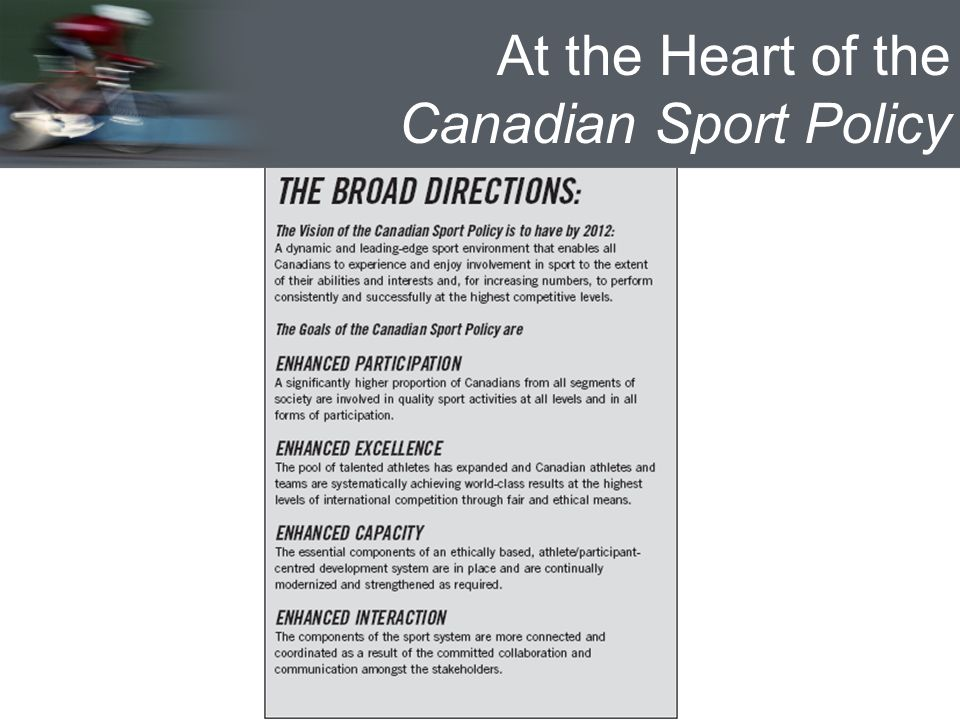 At the Heart of the Canadian Sport Policy