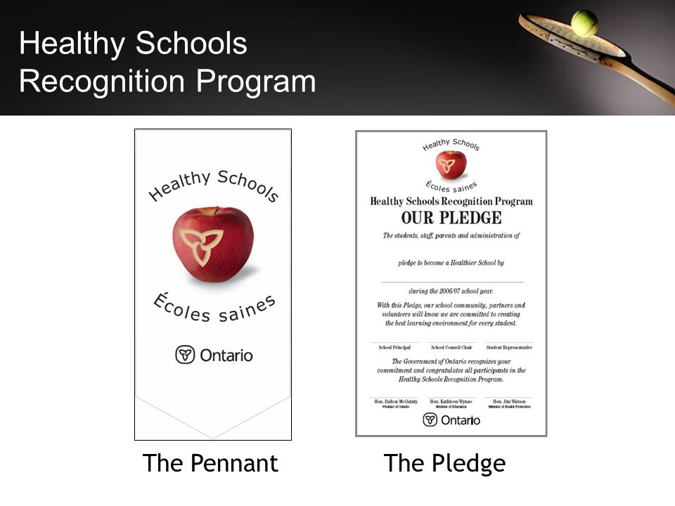 Healthy Schools Recognition Program The PledgeThe Pennant