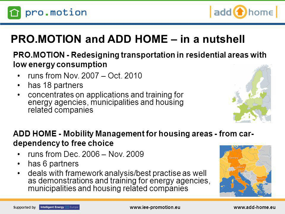 Supported by www.iee-promotion.euwww.add-home.eu Some suggestions for improvement: Car parking spaces Introducing a max.