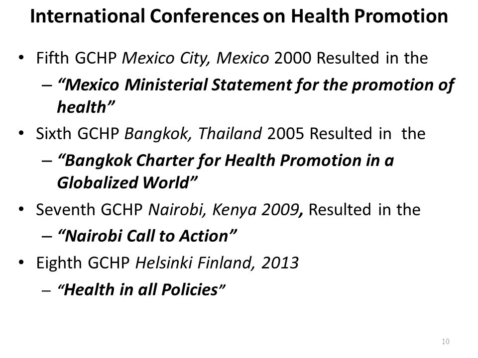 International Conferences on Health Promotion Fifth GCHP Mexico City, Mexico 2000 Resulted in the – Mexico Ministerial Statement for the promotion of