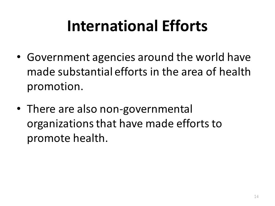 International Efforts Government agencies around the world have made substantial efforts in the area of health promotion. There are also non-governmen