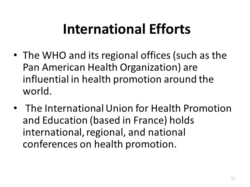 International Efforts The WHO and its regional offices (such as the Pan American Health Organization) are influential in health promotion around the w