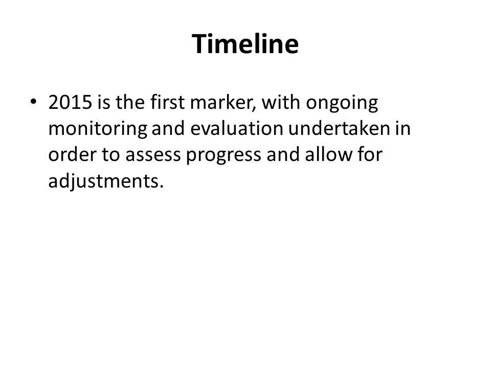 Timeline 2015 is the first marker, with ongoing monitoring and evaluation undertaken in order to assess progress and allow for adjustments.