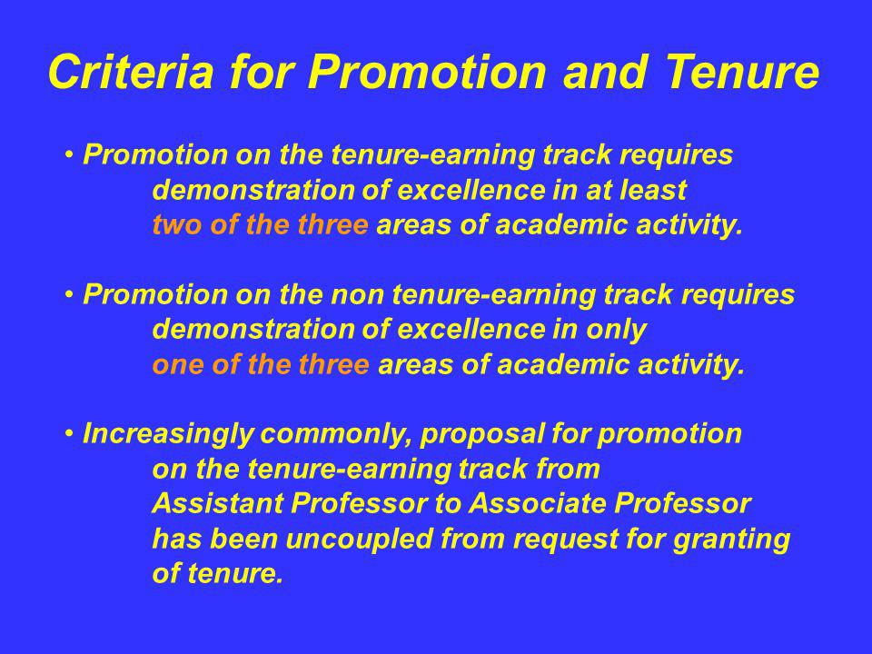 Criteria for Promotion and Tenure Promotion on the tenure-earning track requires demonstration of excellence in at least two of the three areas of aca