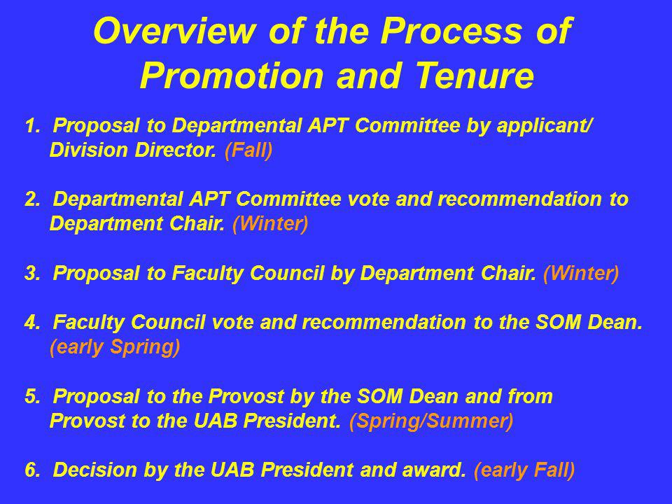 Overview of the Process of Promotion and Tenure 1. Proposal to Departmental APT Committee by applicant/ Division Director. (Fall) 2. Departmental APT