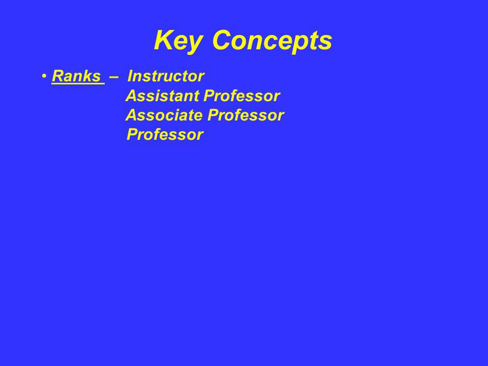 Key Concepts Ranks – Instructor Assistant Professor Associate Professor Professor