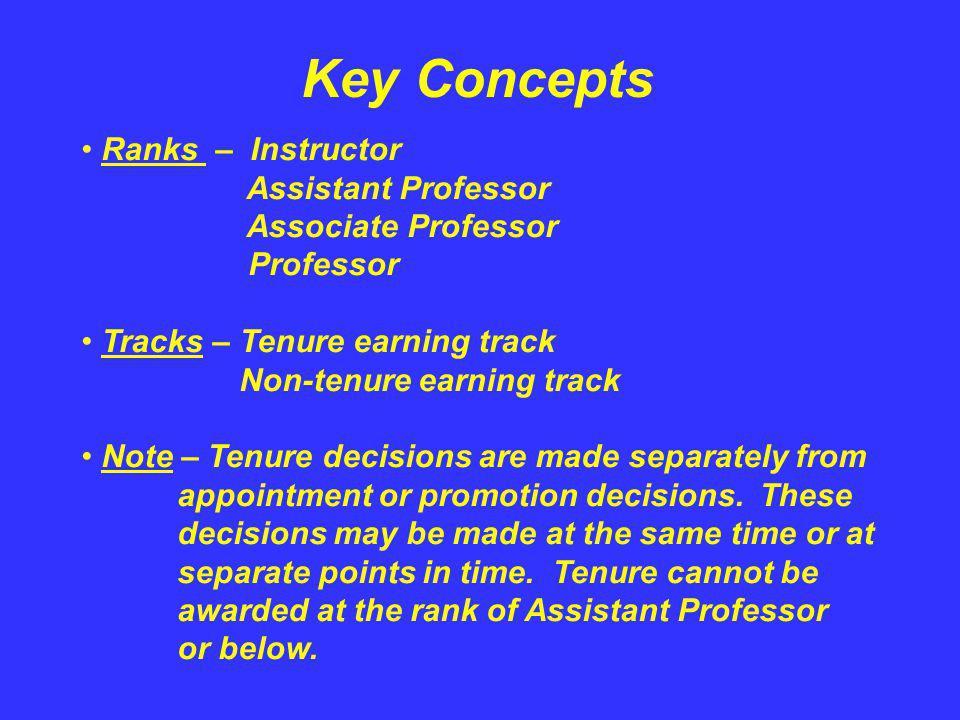 Key Concepts Ranks – Instructor Assistant Professor Associate Professor Professor Tracks – Tenure earning track Non-tenure earning track Note – Tenure