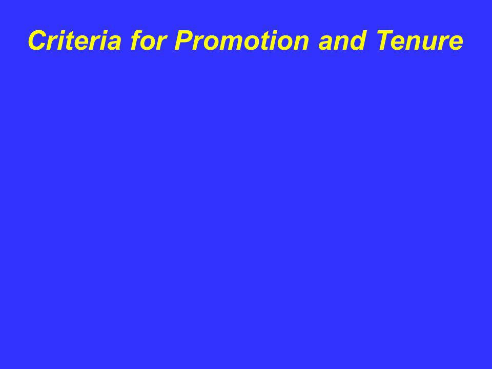 Criteria for Promotion and Tenure