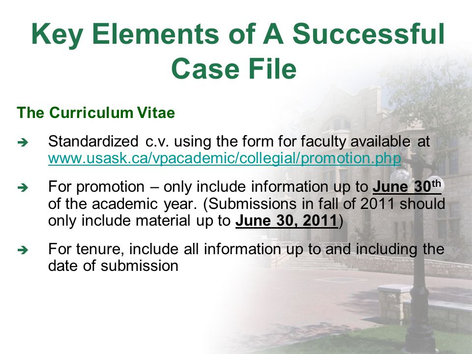Key Elements of A Successful Case File The Curriculum Vitae Standardized c.v.