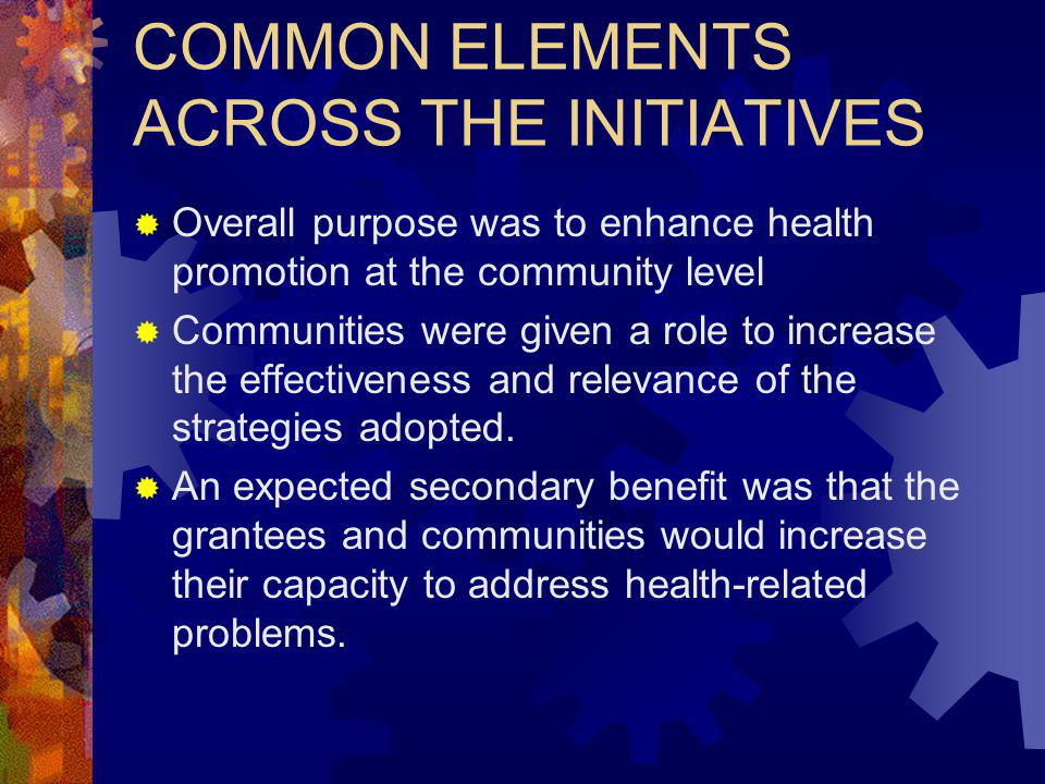 COMMON ELEMENTS ACROSS THE INITIATIVES Overall purpose was to enhance health promotion at the community level Communities were given a role to increase the effectiveness and relevance of the strategies adopted.