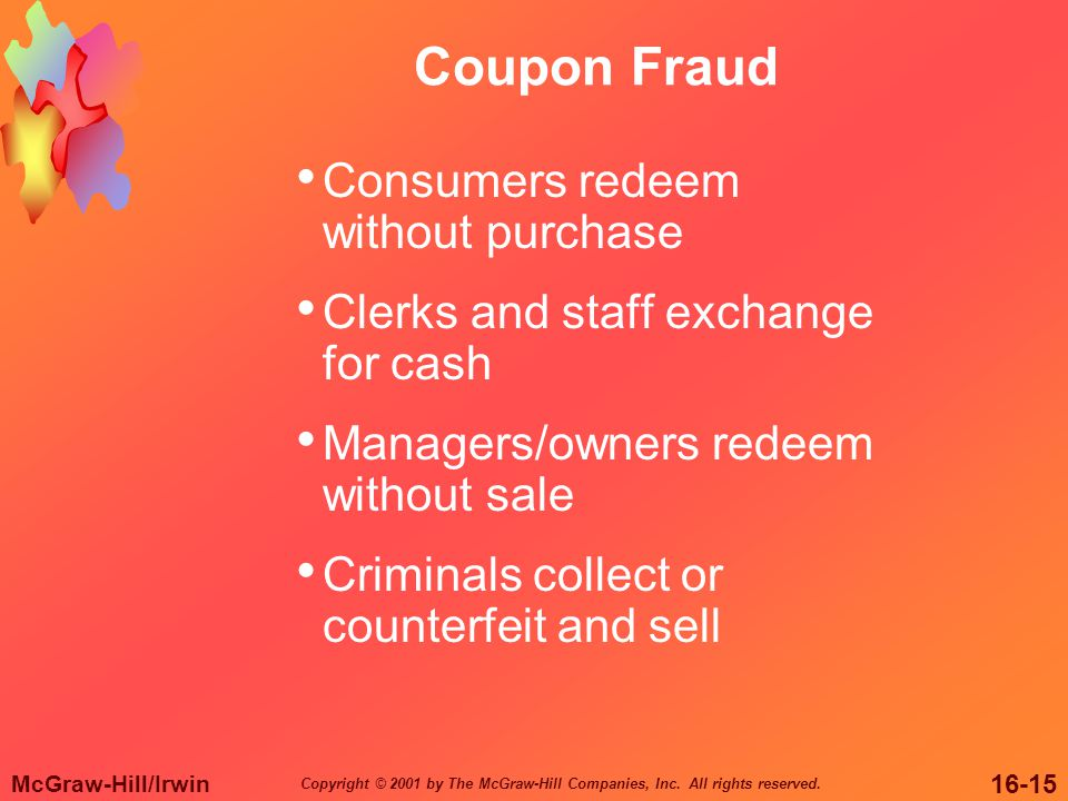McGraw-Hill/Irwin 16-15 Copyright © 2001 by The McGraw-Hill Companies, Inc. All rights reserved. Coupon Fraud Consumers redeem without purchase Clerks