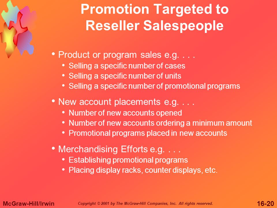 McGraw-Hill/Irwin 16-20 Copyright © 2001 by The McGraw-Hill Companies, Inc. All rights reserved. Promotion Targeted to Reseller Salespeople Product or
