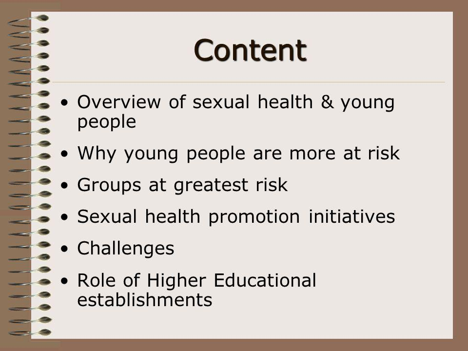 Sexual Health Facts Nationally 1 in 9 people in the UK have had a sexually transmitted infection 1 in 10 sexually active women infected with chlamydia A person is diagnosed with an STI every 15 seconds Young people aged 16-25 are at greatest risk of an STI