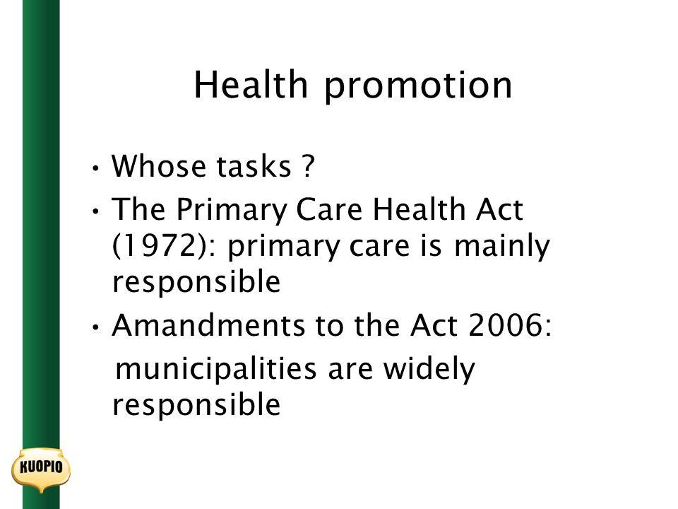 Health promotion Whose tasks .
