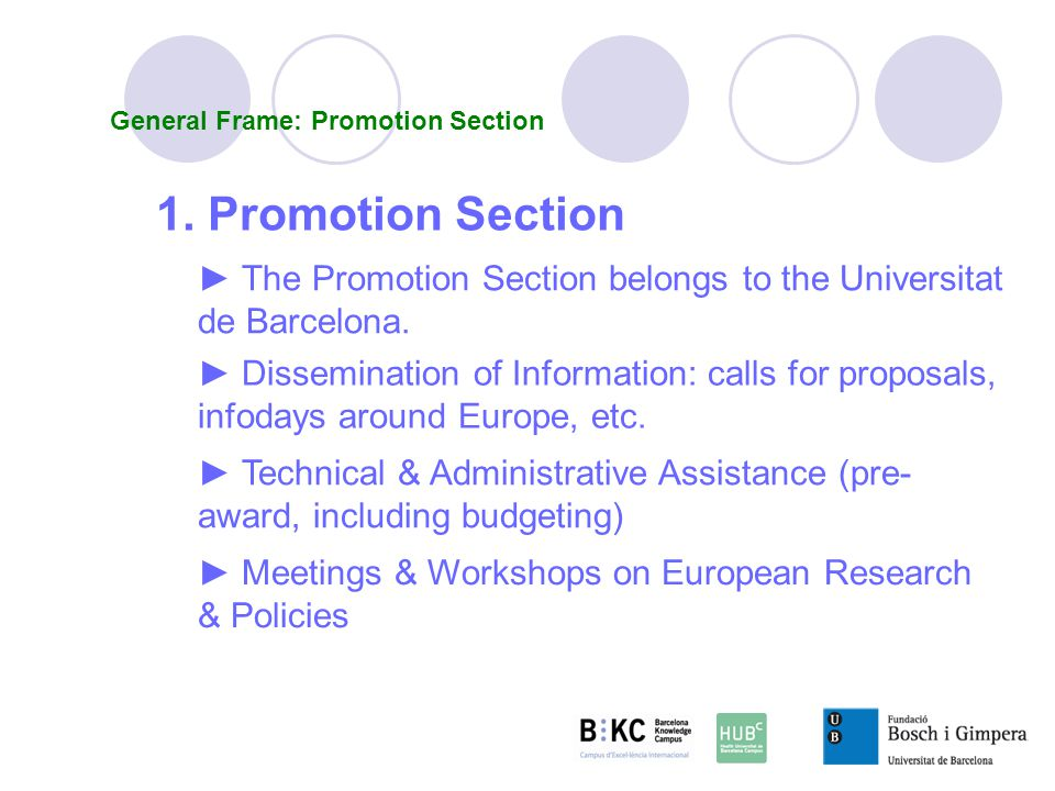 General Frame: Promotion Section 1.