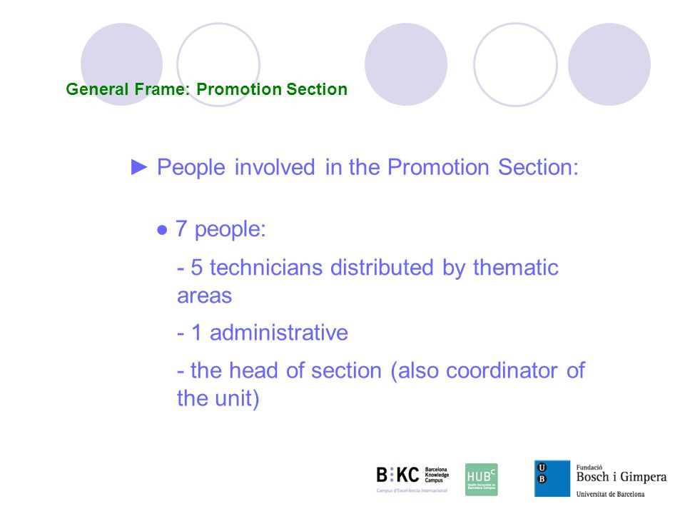 7 people: - 5 technicians distributed by thematic areas People involved in the Promotion Section: - 1 administrative - the head of section (also coordinator of the unit) General Frame: Promotion Section