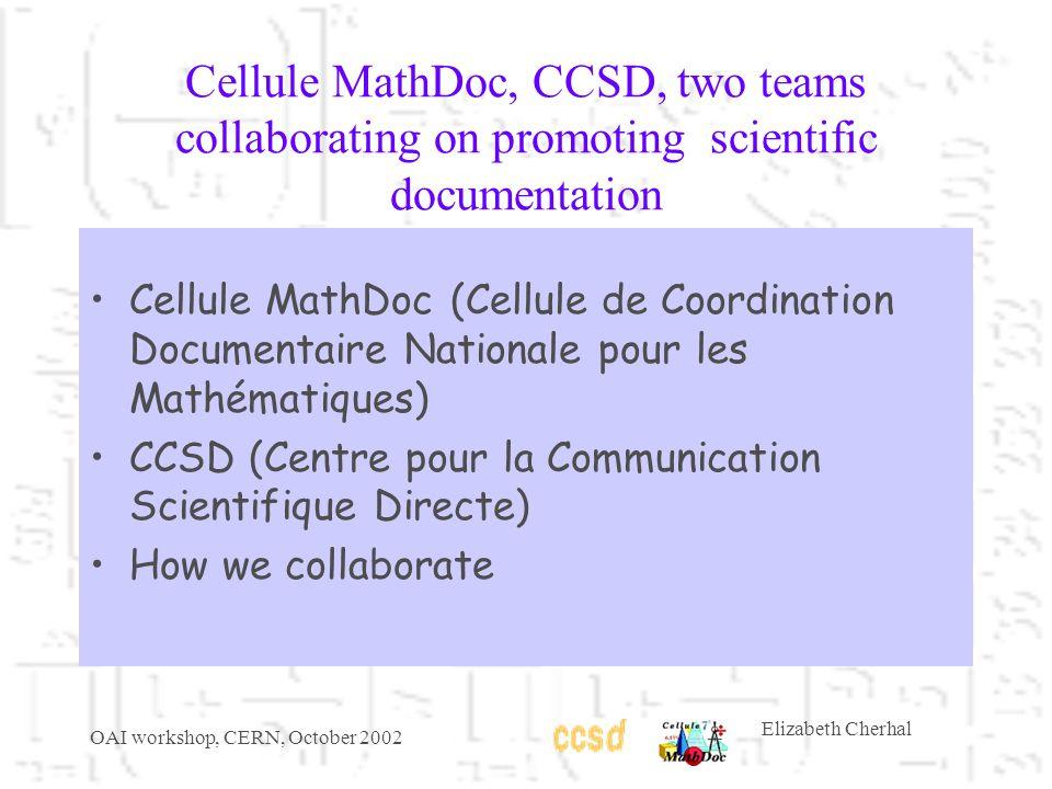 OAI workshop, CERN, October 2002 Elizabeth Cherhal Cellule MathDoc, CCSD, two teams collaborating on promoting scientific documentation Cellule MathDoc (Cellule de Coordination Documentaire Nationale pour les Mathématiques) CCSD (Centre pour la Communication Scientifique Directe) How we collaborate