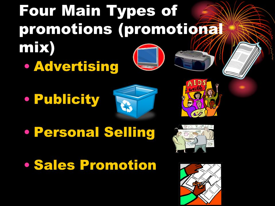 Four Main Types of promotions (promotional mix) Advertising Publicity Personal Selling Sales Promotion