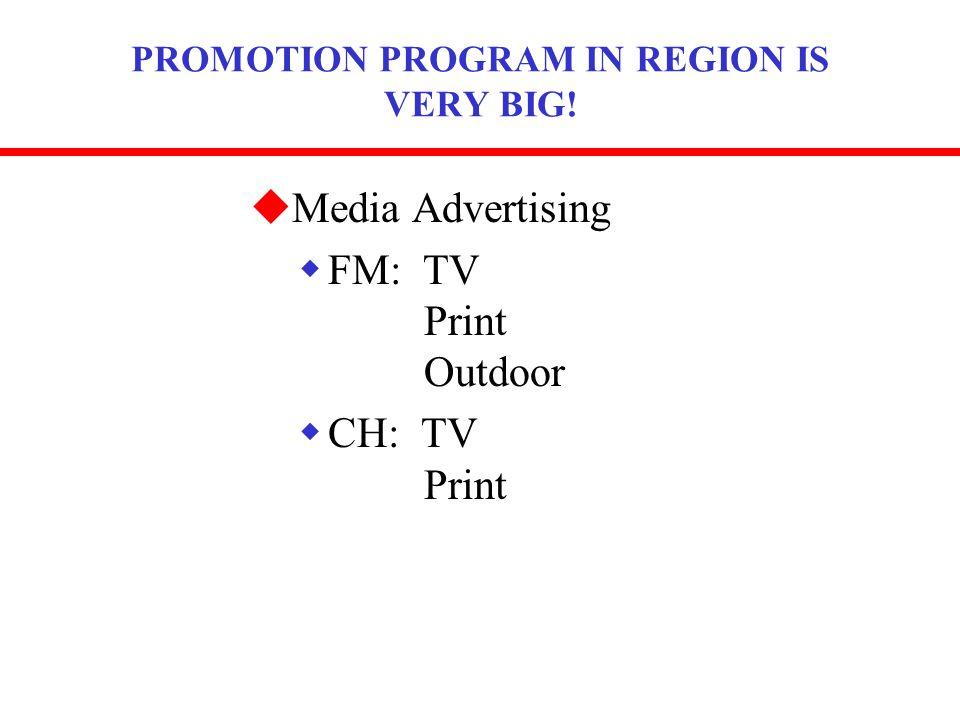 PROMOTION PROGRAM IN REGION IS VERY BIG! uMedia Advertising wFM: TV Print Outdoor wCH: TV Print