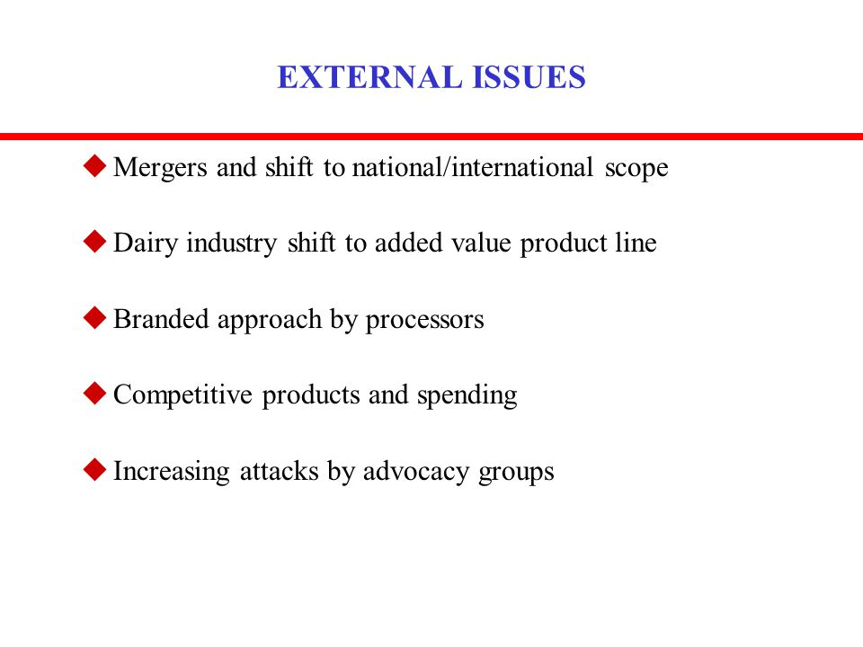 EXTERNAL ISSUES uMergers and shift to national/international scope uDairy industry shift to added value product line uBranded approach by processors u