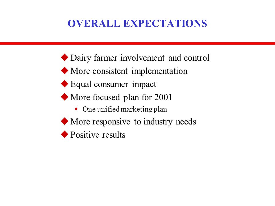 OVERALL EXPECTATIONS uDairy farmer involvement and control uMore consistent implementation uEqual consumer impact uMore focused plan for 2001 wOne uni