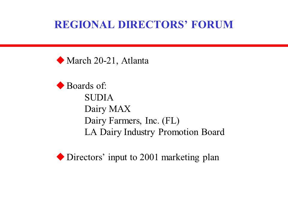 REGIONAL DIRECTORS FORUM uMarch 20-21, Atlanta uBoards of: SUDIA Dairy MAX Dairy Farmers, Inc.