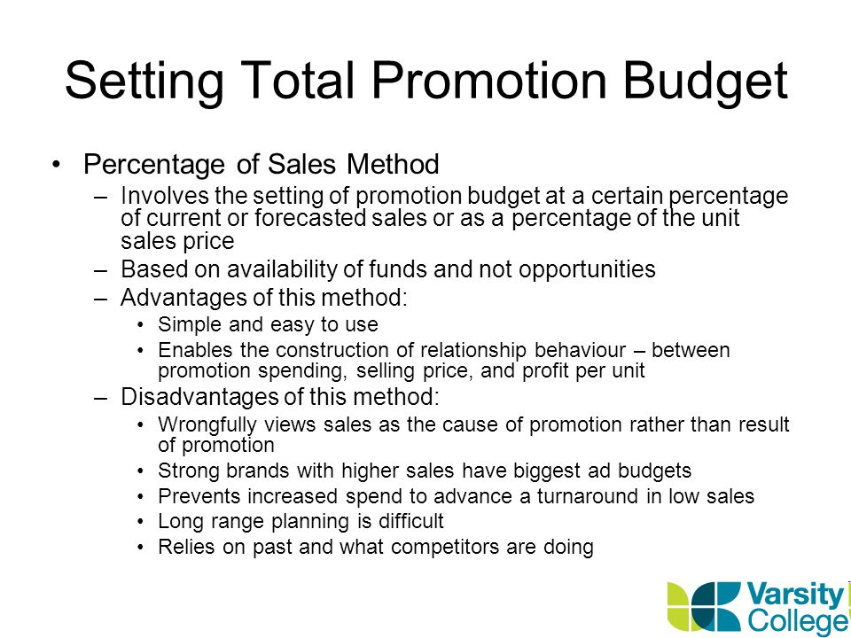 Setting Total Promotion Budget Competitive-Parity Method –This is the setting of your promotion budget to match competitors budgets –Get industry promotion spending estimates from publications and set based on industry average –Advantages: Prevents promotional wars with competitors This involves the collective wisdom of the industry –Disadvantages: Competition doesnt have all the answers.