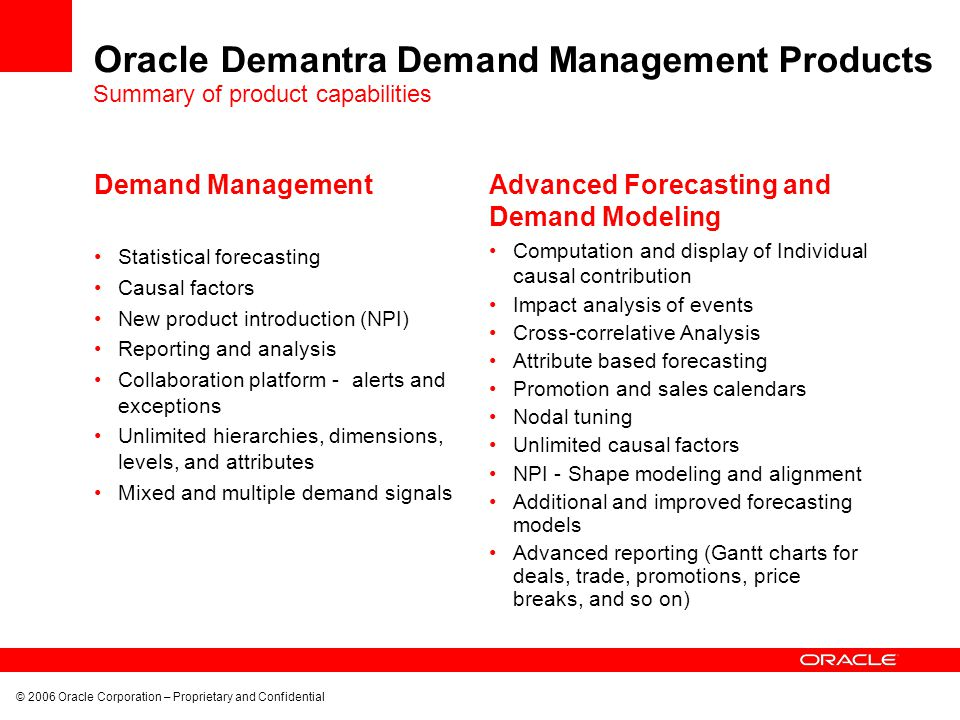 © 2006 Oracle Corporation – Proprietary and Confidential Oracle Demantra Demand Management Products Demand Management Statistical forecasting Causal factors New product introduction (NPI) Reporting and analysis Collaboration platform - alerts and exceptions Unlimited hierarchies, dimensions, levels, and attributes Mixed and multiple demand signals Advanced Forecasting and Demand Modeling Computation and display of Individual causal contribution Impact analysis of events Cross-correlative Analysis Attribute based forecasting Promotion and sales calendars Nodal tuning Unlimited causal factors NPI - Shape modeling and alignment Additional and improved forecasting models Advanced reporting (Gantt charts for deals, trade, promotions, price breaks, and so on) Summary of product capabilities