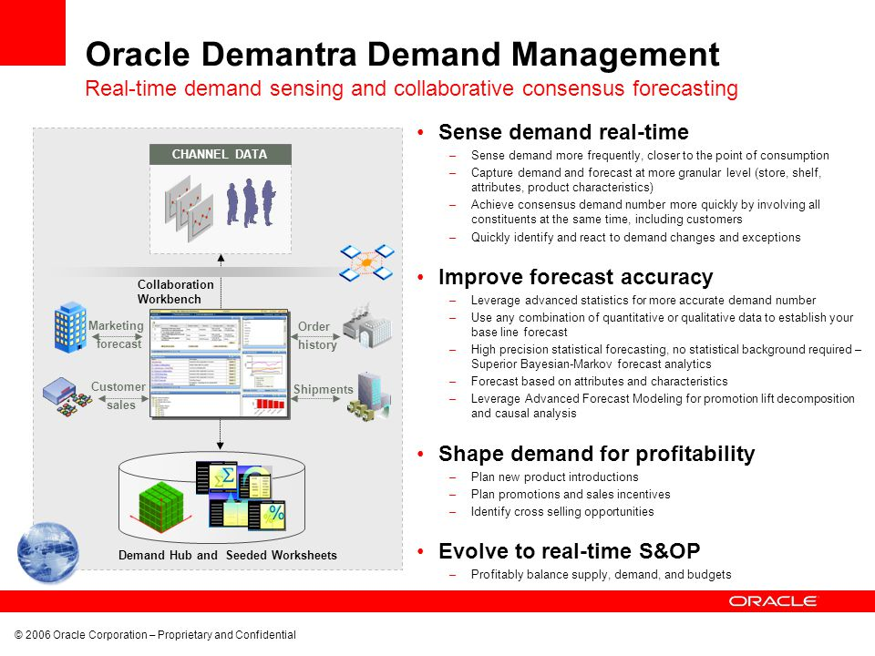 © 2006 Oracle Corporation – Proprietary and Confidential Oracle Demantra Demand Management Sense demand real-time –Sense demand more frequently, close