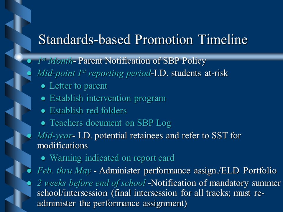 Mandatory Grade 8 Retention Criteria l Students who receive a grade of FAIL in English 8B or Advanced ESL 3 / 4 and a performance assignment score of