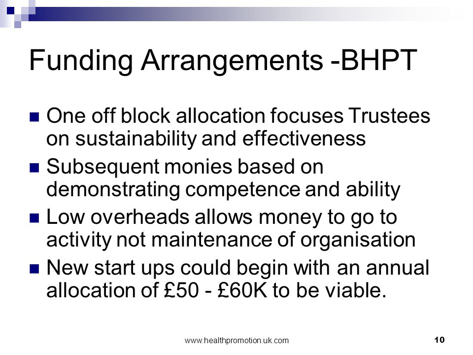 www.healthpromotion.uk.com10 Funding Arrangements -BHPT One off block allocation focuses Trustees on sustainability and effectiveness Subsequent monie
