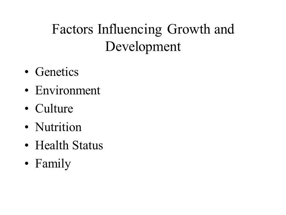 Factors Influencing Growth and Development Genetics Environment Culture Nutrition Health Status Family