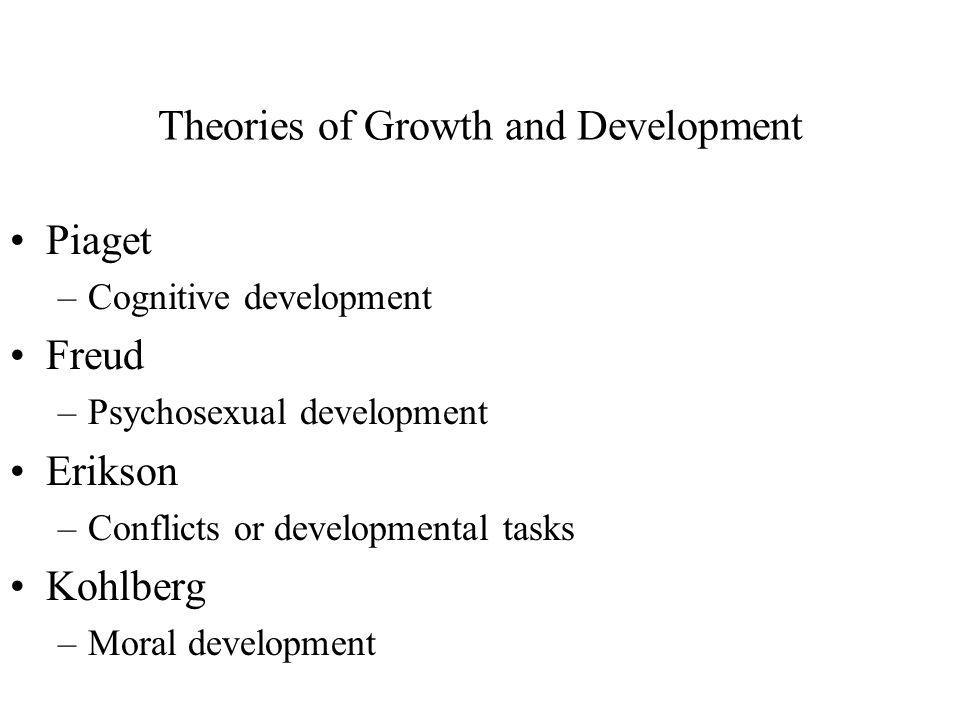 Theories of Growth and Development Piaget –Cognitive development Freud –Psychosexual development Erikson –Conflicts or developmental tasks Kohlberg –M