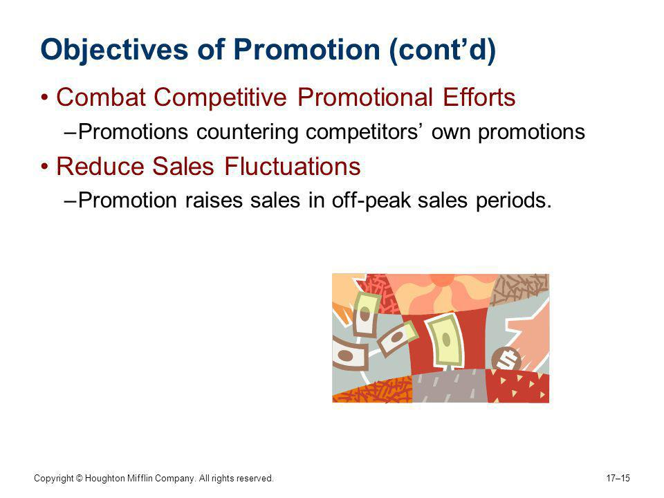 Copyright © Houghton Mifflin Company. All rights reserved. 17–15 Objectives of Promotion (contd) Combat Competitive Promotional Efforts –Promotions co