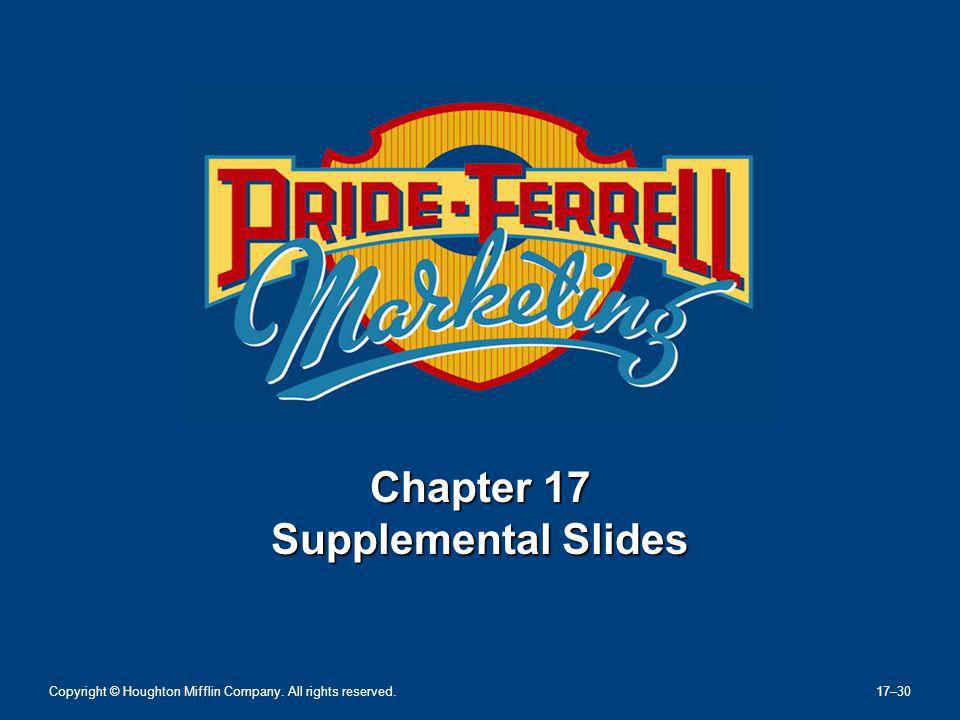 Chapter 17 Supplemental Slides Copyright © Houghton Mifflin Company. All rights reserved. 17–30