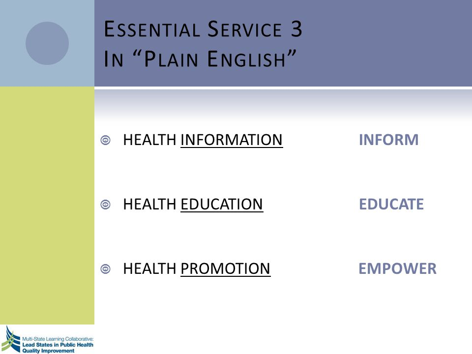 E SSENTIAL S ERVICE 3 I N P LAIN E NGLISH HEALTH INFORMATION INFORM HEALTH EDUCATION EDUCATE HEALTH PROMOTION EMPOWER