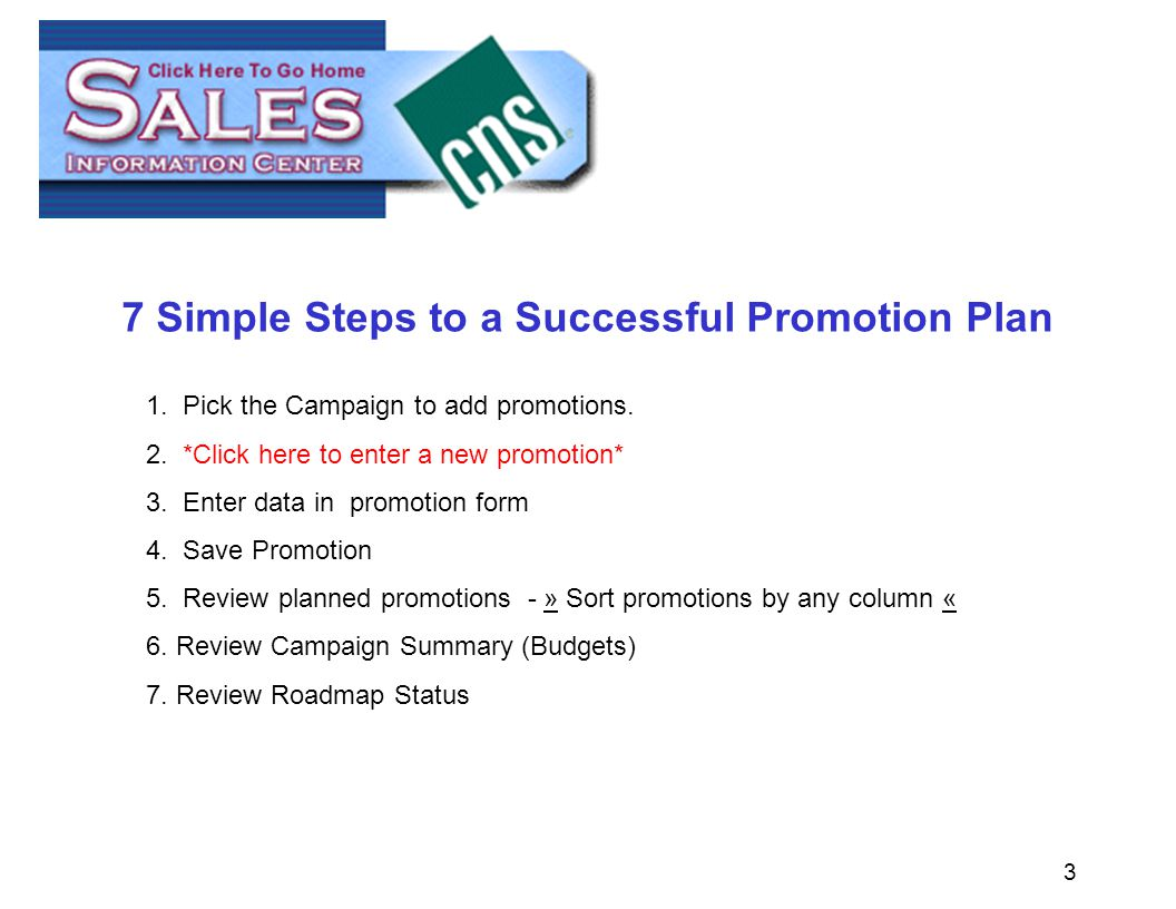 3 7 Simple Steps to a Successful Promotion Plan 1.