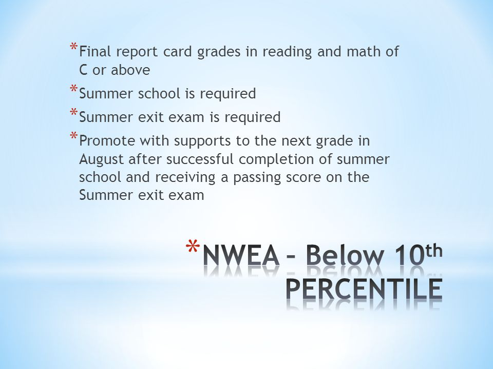 * Final report card grades in reading and math of C or above * Summer school is required * Summer exit exam is required * Promote with supports to the next grade in August after successful completion of summer school and receiving a passing score on the Summer exit exam