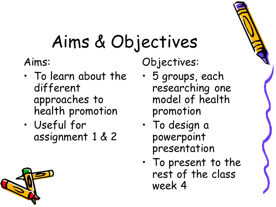 Aims & Objectives Aims: To learn about the different approaches to health promotion Useful for assignment 1 & 2 Objectives: 5 groups, each researching