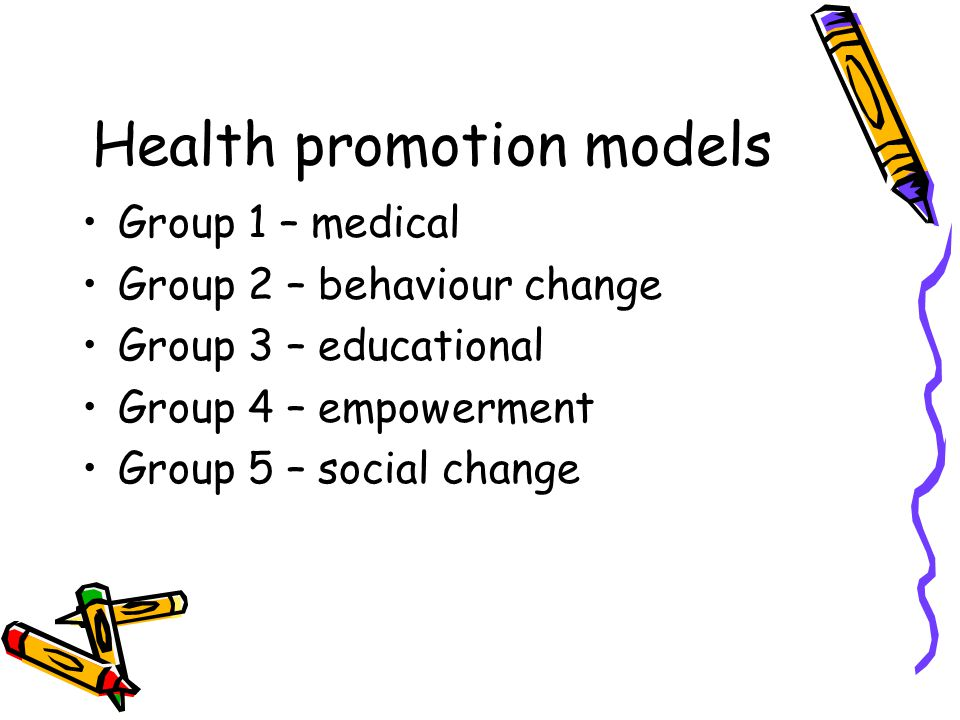 Health promotion models Group 1 – medical Group 2 – behaviour change Group 3 – educational Group 4 – empowerment Group 5 – social change