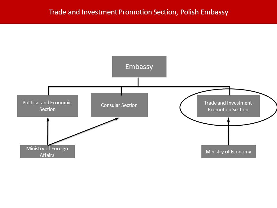 Trade and Investment Promotion Section, Polish Embassy Embassy Consular Section Political and Economic Section Trade and Investment Promotion Section Ministry of Foreign Affairs Ministry of Economy