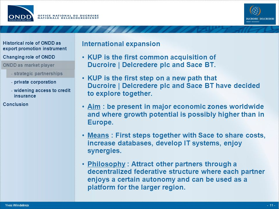 Historical role of ONDD as export promotion instrument Changing role of ONDD ONDD as market player -strategic partnerships -private corporation -widening access to credit insurance Conclusion Yves Windelincx- 11 - International expansion KUP is the first common acquisition of Ducroire | Delcredere plc and Sace BT.