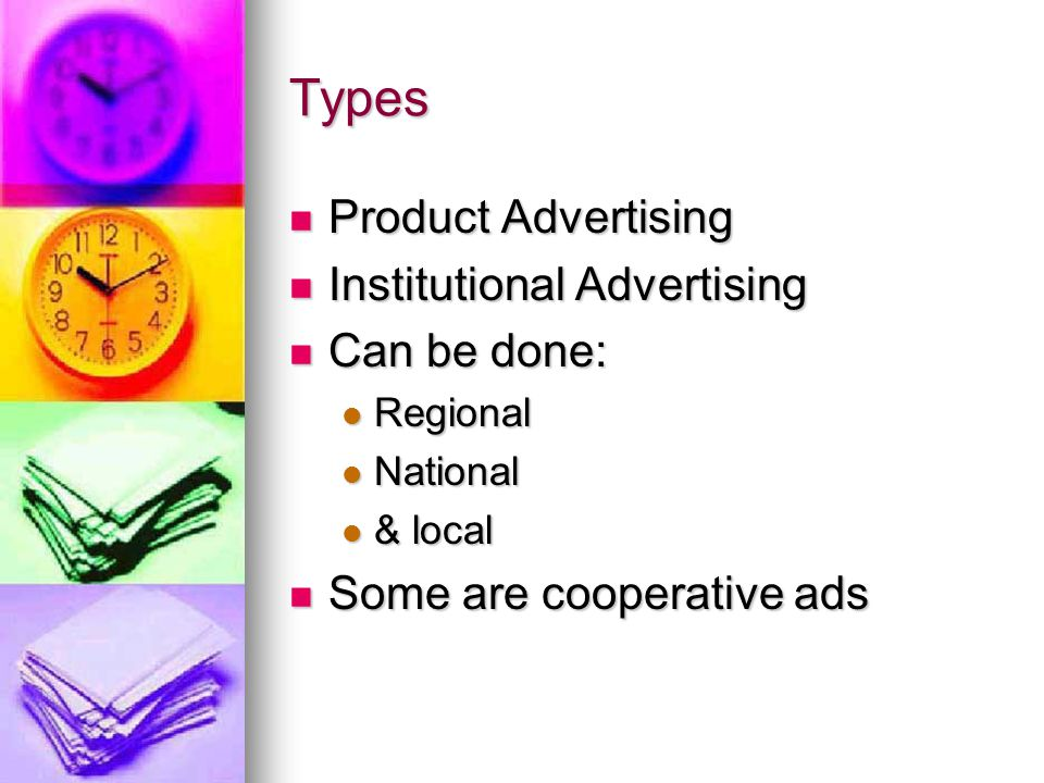 Types Product Advertising Product Advertising Institutional Advertising Institutional Advertising Can be done: Can be done: Regional Regional National