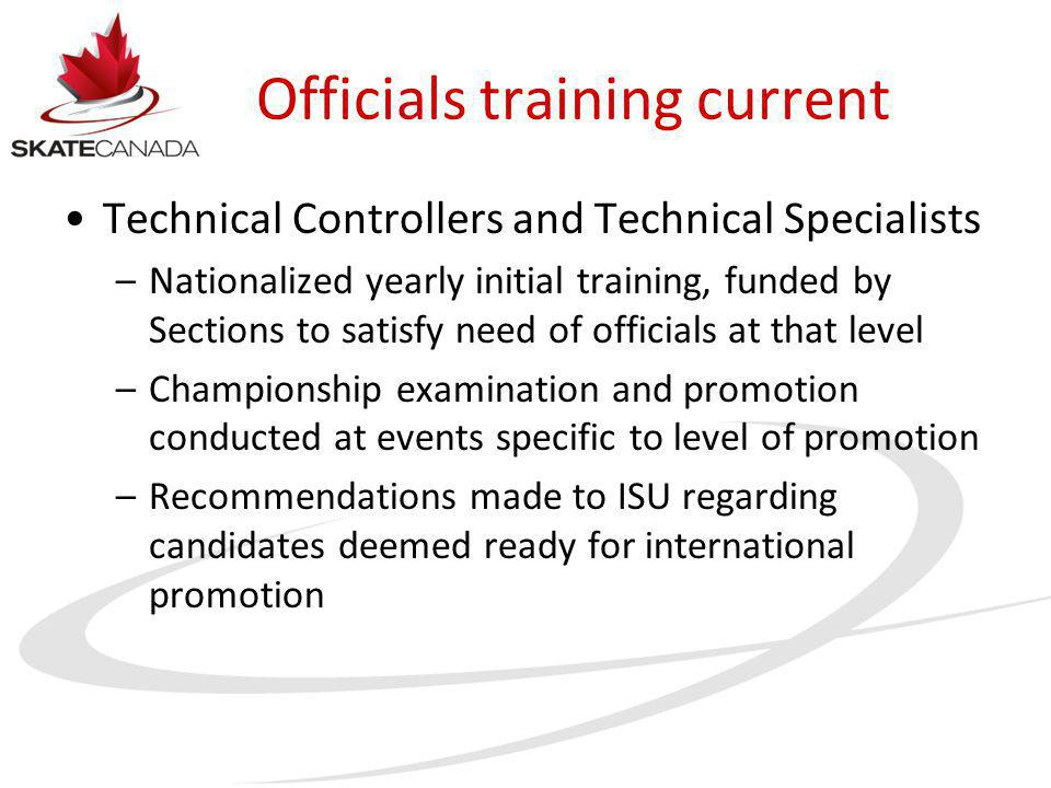 Officials training current Technical Controllers and Technical Specialists –Nationalized yearly initial training, funded by Sections to satisfy need o