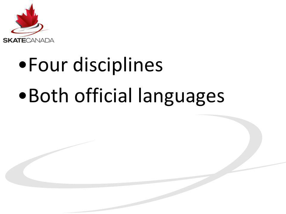 Four disciplines Both official languages