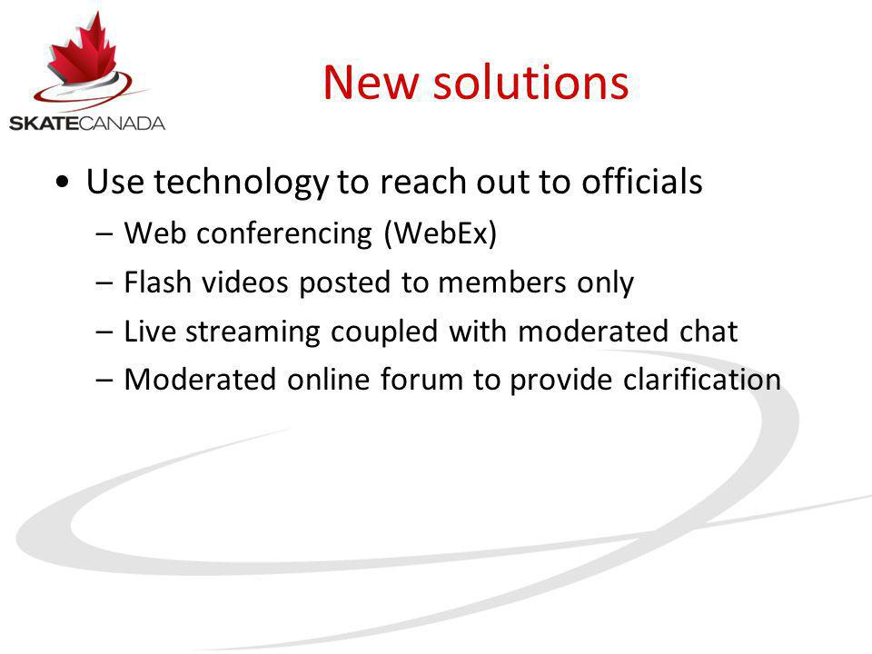 New solutions Use technology to reach out to officials –Web conferencing (WebEx) –Flash videos posted to members only –Live streaming coupled with mod